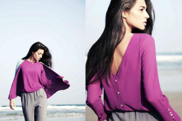 Chaqueta reversible púrpura y azul niebla, blusa laguna púrpura & pantalón landa gris satinado