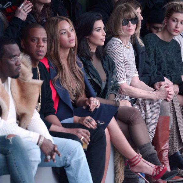 Front-row lleno de rostros famosos: Jay Z, Beyoncé, Kim Kardashian, y la editora de Vogue USA, Anna Wintour