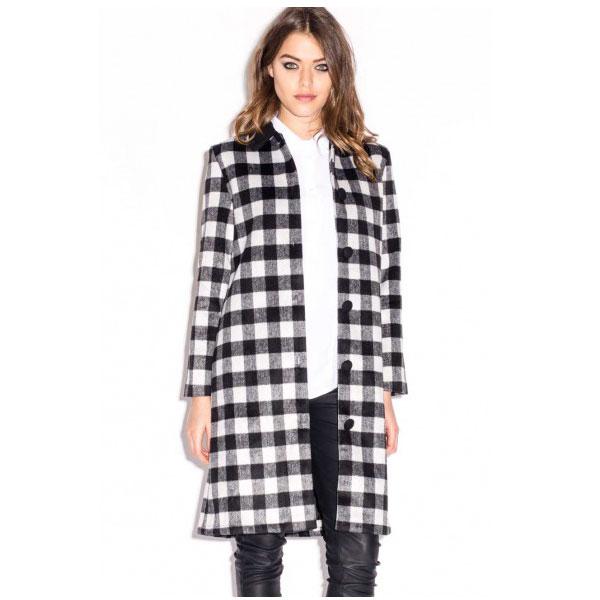 Abrigo cuadros negro y blanco