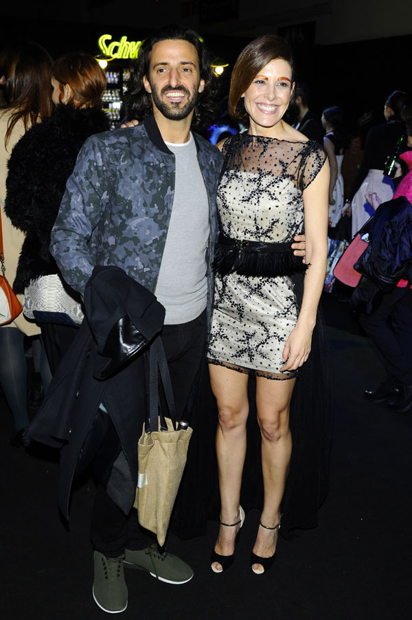 Matias Dumont and Presenter Raquel Sanchez Silva at the front row of IonFiz collection during Pasarela Cibeles - Mercedes-Benz Fashion Week Madrid 2015, in Madrid, on Sunday 8th February 2015