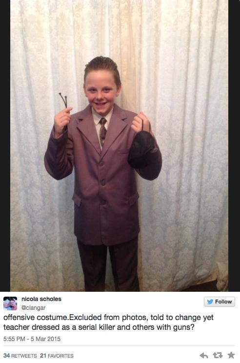 niño disfrazado de Christian Grey