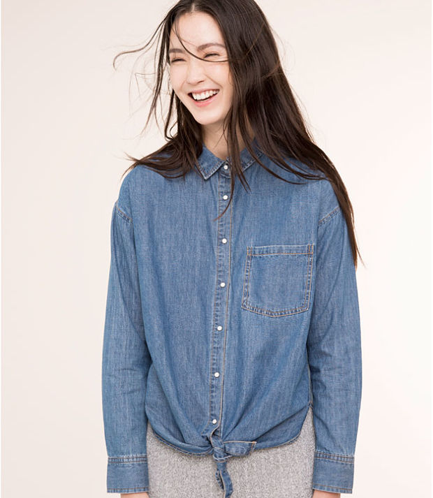 camisa total denim pull & bear