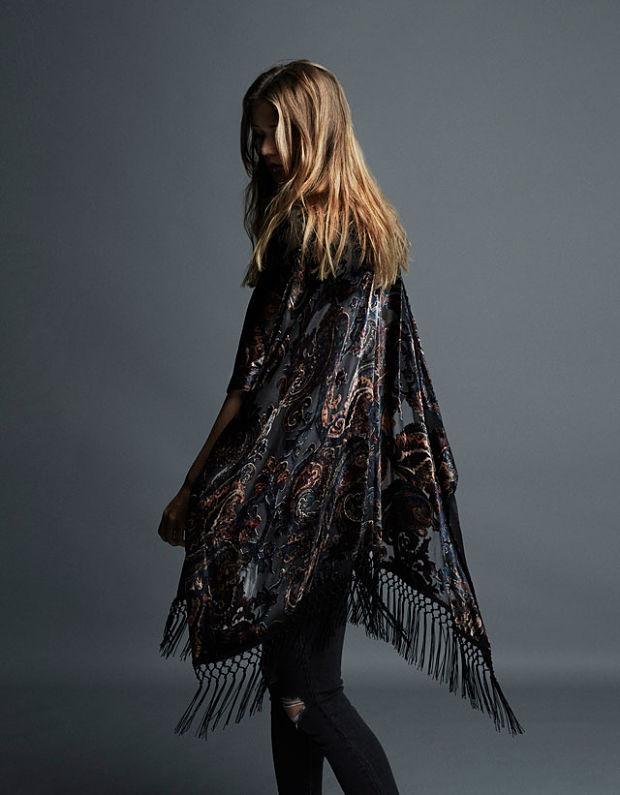 kimono noche bershka