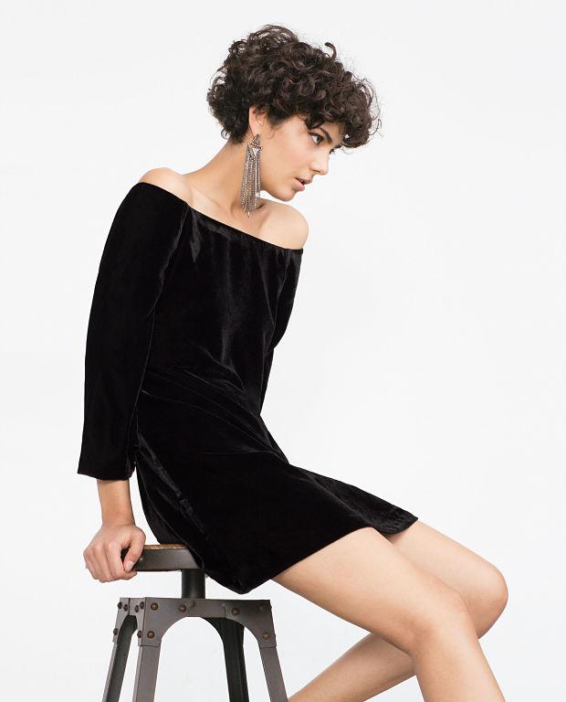vestido terciopelo negro zara